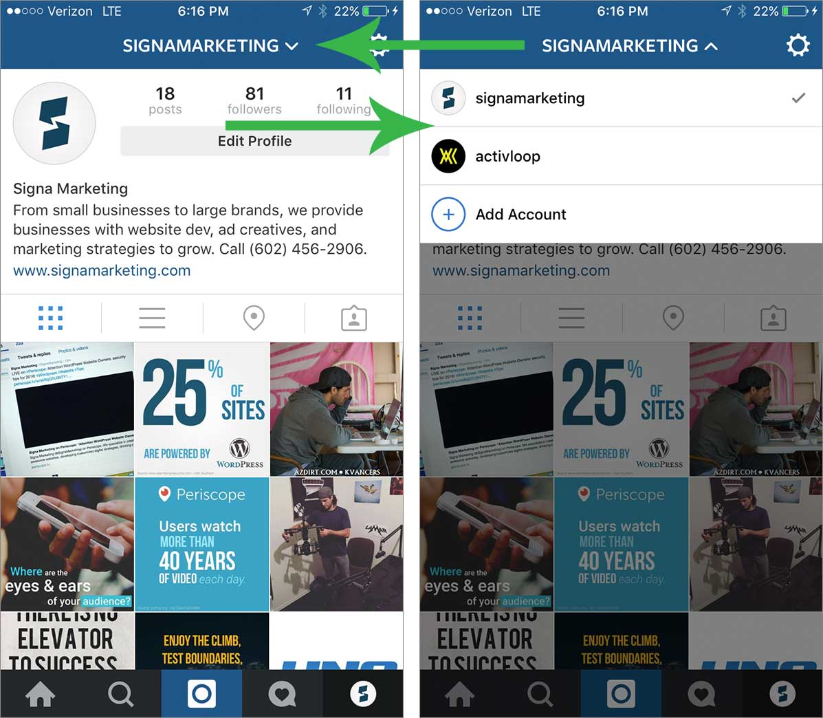 Signa Marketing Instagram Account